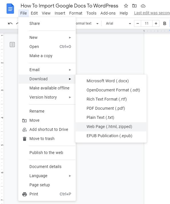 Screenshot of a Google document
