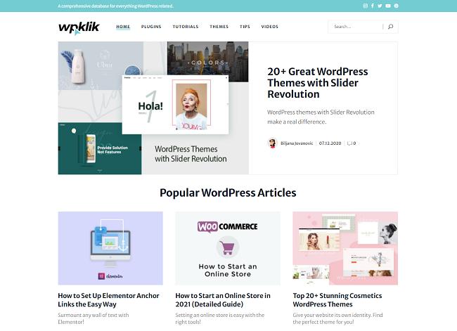 Screenshot of the WPKlik homepage