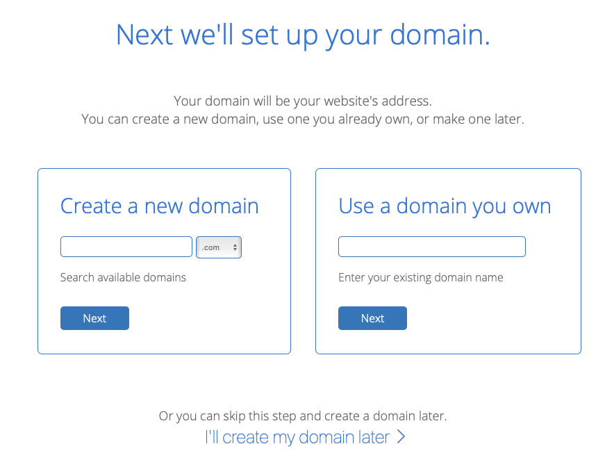 The domain setup screen from Bluehost