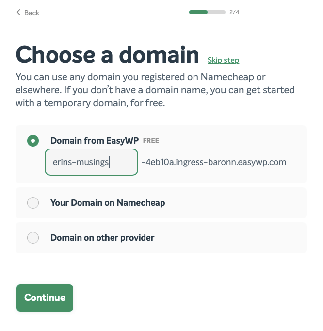 The Choose a domain screen in EasyWP