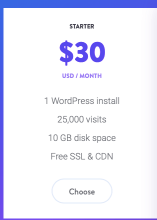 Example of Kinsta pricing
