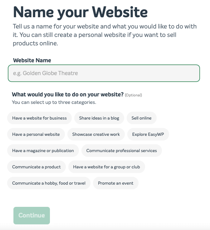 The Name your Website screen from EasyWP