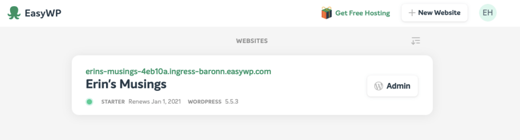 Screenshot from the EasyWP admin panel