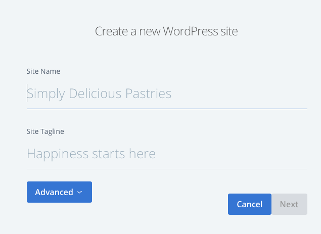 An empty Create a new WordPress site form from Bluehost