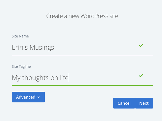 The completed Create a new WordPress site form on Bluehost