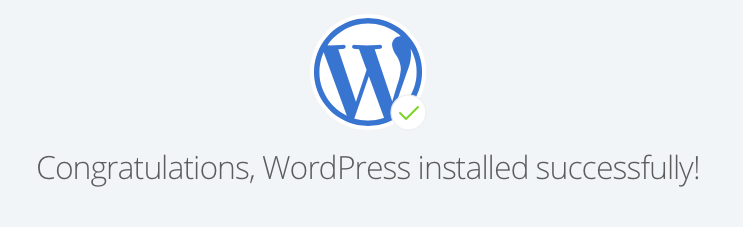 A message from Bluehost stating WordPress has successfully installed