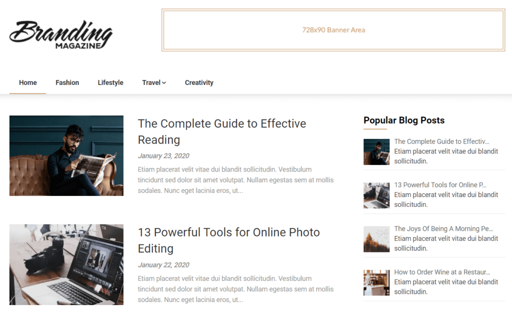 Example of Feather Magazine theme from SuperbThemes