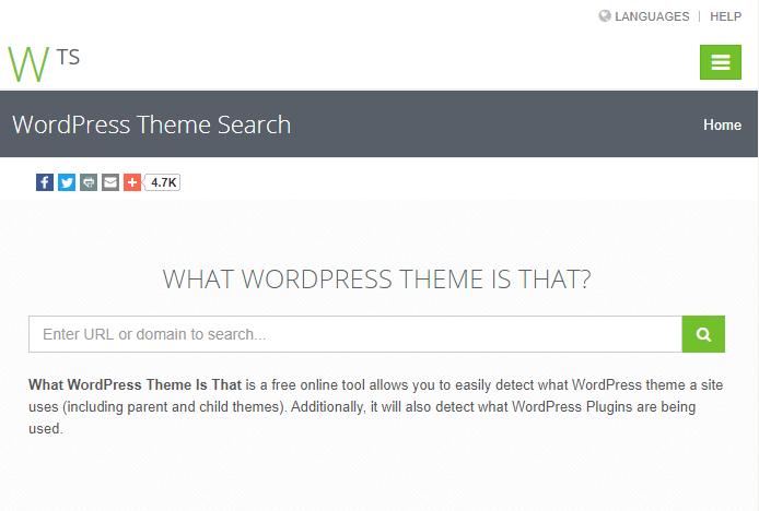 Screenshot of WordPress Theme Search homepage
