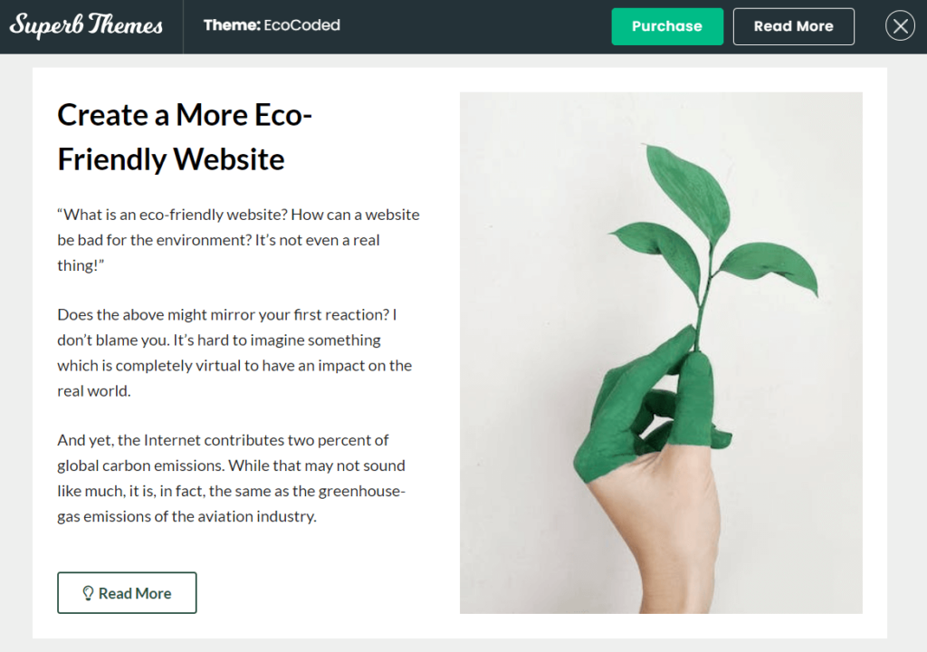 Screenshot of EcoCoded theme on a website