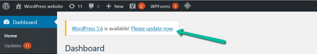 A green arrow points to Please update now within WordPress.