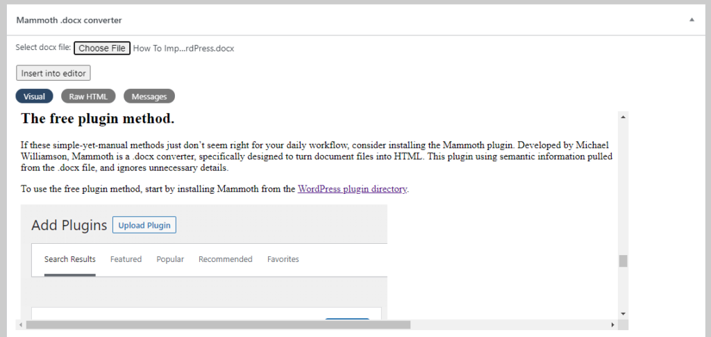 Screenshot of importing a Google document to WordPress via Mammoth plugin