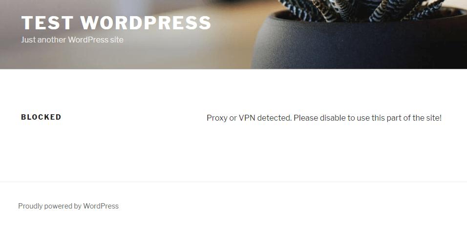 Example of WordPress content that has been blocked.
