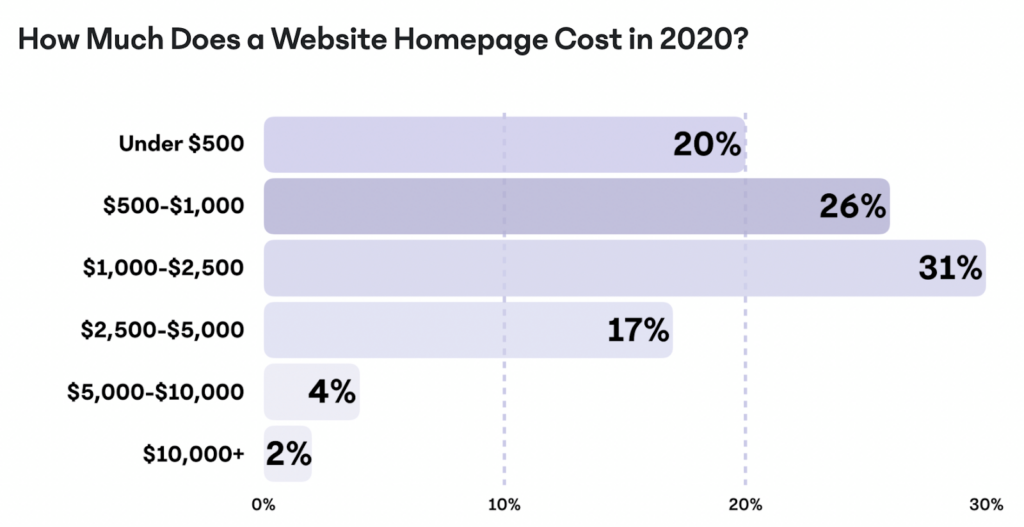Website homepage cost infographic