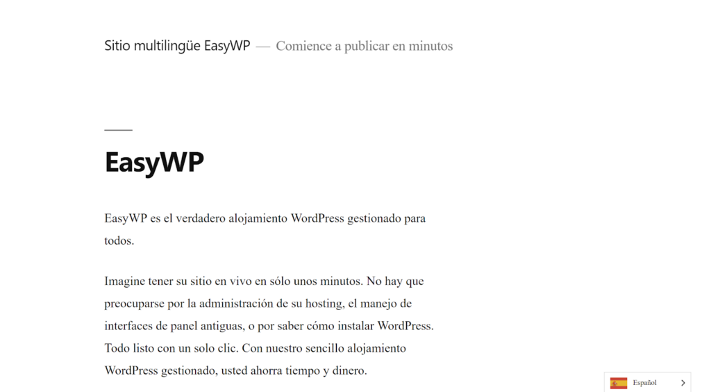 Example of a translated page using Weglot