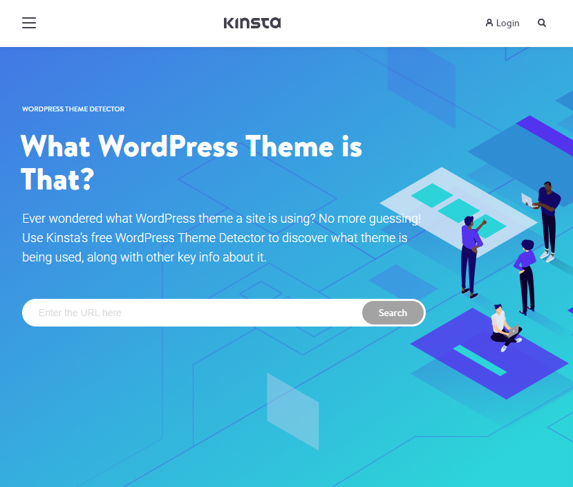The homepage of the Kinsta theme detector tool