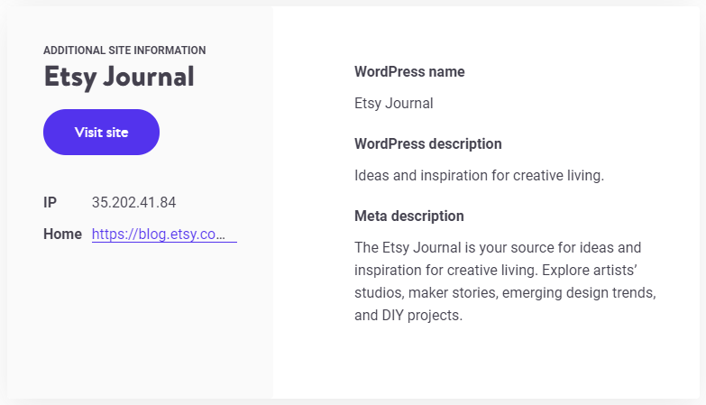 Additional details provided by the Kinsta WordPress theme detector